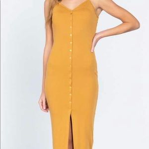 Mustard Yellow Ribbed Cami Faux Button Down Dress